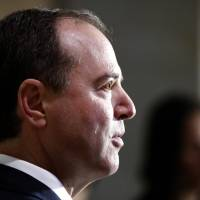 Rep. Adam Schiff, D-Calif., ranking member of the House Committee on Intelligence, speaks during a media availability after a closed-door meeting of the House Intelligence Committee on Capitol Hill Monday in Washington. | AP