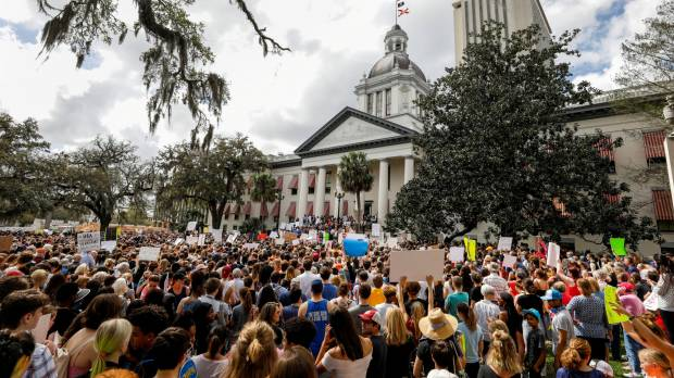 Angry teens and protesters swarm Florida's Capitol; demand new gun laws