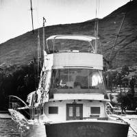 The 55-foot yacht Splendour, belonging to actor Robert Wagner and his wife, actress Natalie Wood, sits in the waters at Avalon, California, on Santa Catalina Island, near where rescuers found the body of Wood, an apparent drowning victim, in 1981. | AP