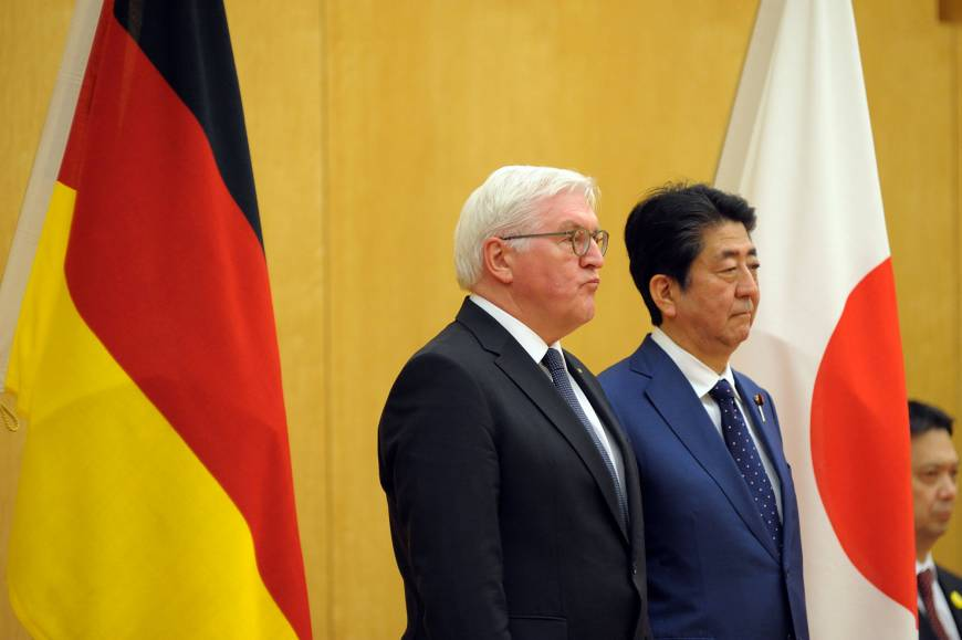 Abe and German president agree to implement Japan-EU trade pact soon