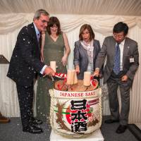 At a gathering last March 16, (from left) Roger Godsiff, chairman of the British-Japanese Parliamentary Group; Sarah Parsons, chairwoman of the JET Programme Alumni Association U.K.; Baroness Frances D'Souza; and Koji Tsuruoka, the Japanese ambassador to the U.K., celebrate 30 years of the Japan Exchange and Teaching Programme, at the British Parliament. | BOLTON PHOTOGRAPHY / VIA KYODO