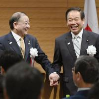 Veteran Liberal Democratic Party lawmaker Fukushiro Nukaga (right) is expected to step down as faction leader amid calls for him to resign. His weak position in the party underlines the slow decline of LDP factions overall. | KYODO