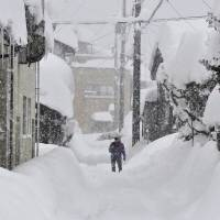 The city of Fukui was buried under a blanket of heavy snow on Tuesday. The snowfall could continue through Wednesday from northern to western Japan, mainly along the Sea of Japan coast | KYODO
