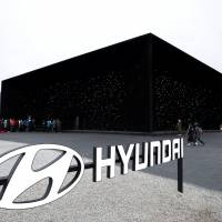 Hyundai Motor Co.'s booth is seen Sunday near Pyeongchang Olympic Plaza in South Korea. | REUTERS