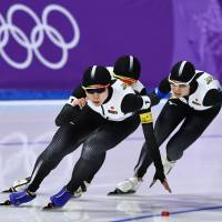 The Japanese raced to gold in the women's team pursuit speedskating event. Two members also garnered individual honors, with Miho Takagi earning silver in the 1,500 and bronze in the 1,000 and older sister Nana winning gold in the mass start. | AFP-JIJI