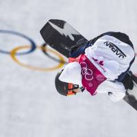 Japan's Hiroaki Kunitake competes during the qualification of the men's snowboard big air event at the Alpensia Ski Jumping Centre during the Pyeongchang 2018 Winter Olympic Games in Pyeongchang on February 21, 2018.  / AFP PHOTO / Odd ANDERSEN | AFP-JIJI