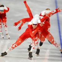 Members of the Poland squad during training for a men's speed skating event. | REUTERS