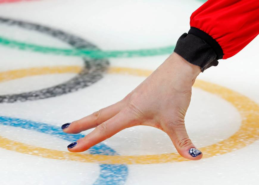 A close up of the nails of Eve Muirhead of Britain at the curling women