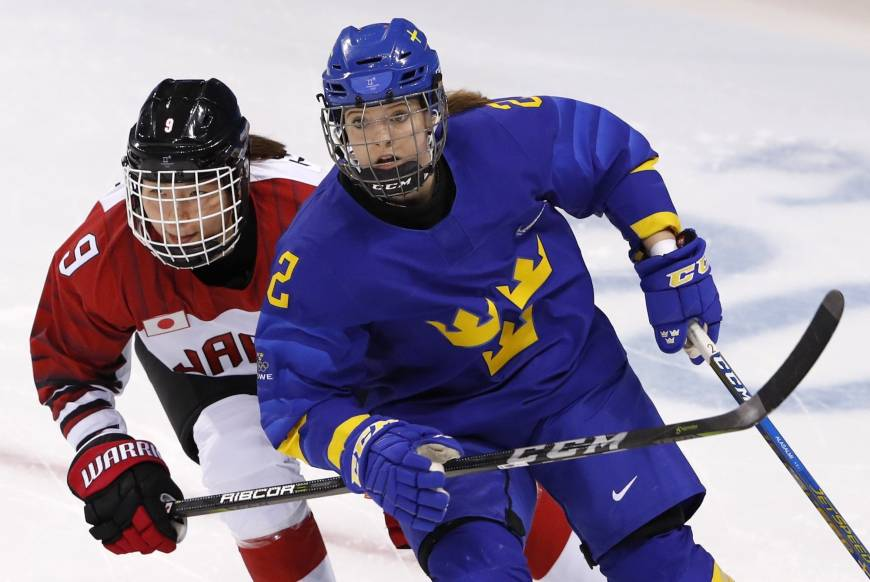 Aina Takeuchi of Japan and Emmy Alasalmi of Sweden during a women