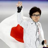 Nao Kodaira of Japan celebrates after winning a gold medal in the 500m women's speed skating final. | REUTERS