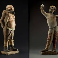 Two 'Figures of a Hu Man,' excavated from the tomb of Mu Tai (730 AD) in Qingcheng County, Gansu Province   QINGCHENG COUNTY MUSEUM