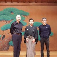 Noh plans: Meeting for rehearsals last fall, the trio involved in bringing a detailed look at noh to a Tokyo stage includes (from left) Jay Rubin, Kazufusa Hosho and Seiko Ito.