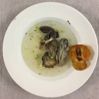 Soul food: Asako Iwama served 'A Clear Soup with Kaki, Oysters and Oyster Mushrooms' to 50 people at a recent food performance titled 'Spelling the Soup' at the Museum of Contemporary Art, Tokyo. | ASAKO IWAMA