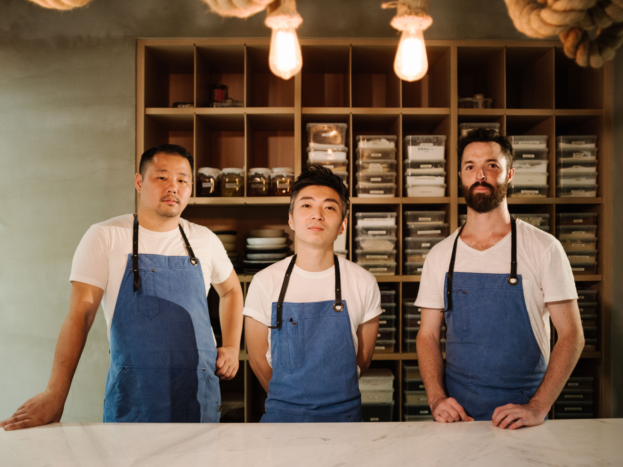 Noma alums Long Xiong (left), Richie Lin and Kai Ward are creating some of Taipei's most adventurous cooking at Mume. | SEAN MARC LEE
