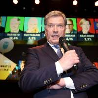 Victor: Independent presidential candidate Sauli Niinisto speaks during his election reception in Helsinki on Jan. 28. A broadcaster produced an anime-inspired video during the election campaign in an attempt to increase the number of young voters.   REUTERS