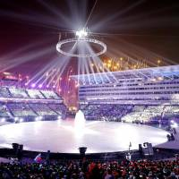 An illuminated Pyeongchang Olympic Stadium. | KYODO