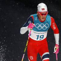 Norway's Johannes Hoesflot Klaebo competes in the men's sprint classic on Tuesday in Pyeongchang, South Korea. Klaebo won the gold. | REUTERS