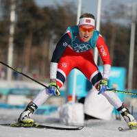 Norway's Ragnhild Haga competes in the women's 10-km  cross-country freestyle race at Alpensia Cross-Country Skiing Centre on Thursday. Haga won the event.   REUTERS