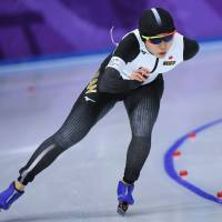 Japan's Miho Takagi competes in the women's 3,000 meters on Saturday in Gangneung, South Korea. | AFP-JIJI