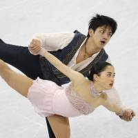 Ryuichi Kihara (top) and Miu Suzaki placed eighth out of 10 teams in the pairs competition in the team skating event at the Pyeongchang Olympics. | REUTERS