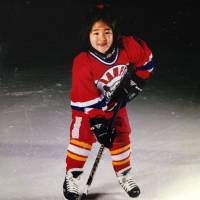 Akane Hosoyamada, seen here at age 5 playing for the Banff Bears, first took the ice at 3 with an interest in figure skating, but quickly changed to ice hockey. | AKANE HOSOYAMADA