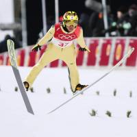 Noriaki Kasai competes in the qualifying round of the men's normal hill jump on Thursday at the  Alpensia Ski Jumping Centre. | KYODO
