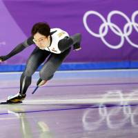 Nao Kodaira skates during a practice session on Monday in Gangneung, South Korea. | KYODO