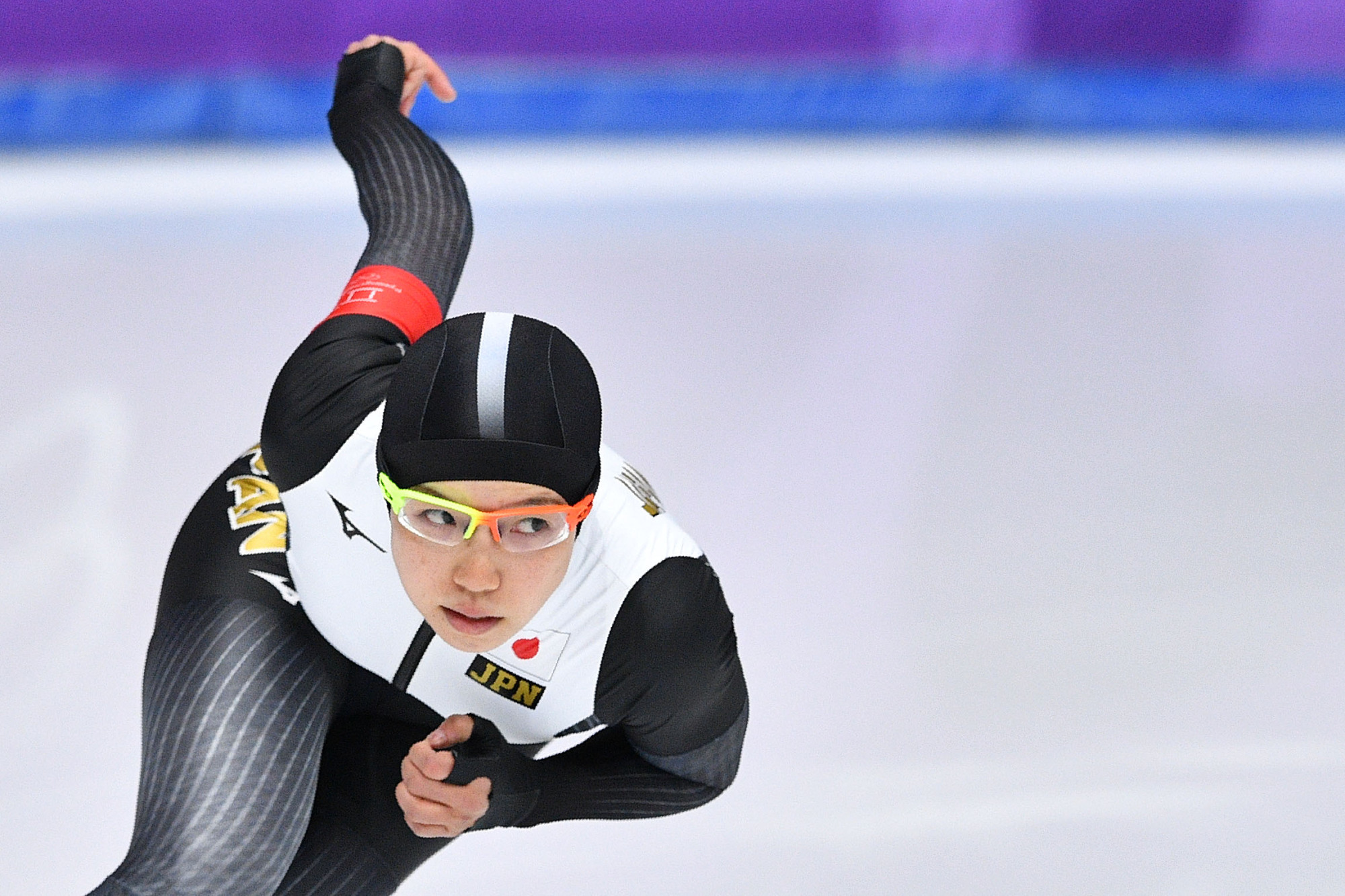 Nao Kodaira skates during the women's 1,000-meter speedskating competition at the Pyeongchang Olympics on Wednesday. | AFP-JIJI