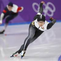 Nao Kodaira competes in the women's 500 meters at Gangneung Oval on Sunday. | KYODO