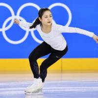 Satoko Miyahara works out on the practice rink beneath Gangneung Ice Arena on Monday evening. | KYODO
