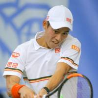 Kei Nishikori plays a shot during his win over Mackenzie McDonald in the final of the RBC Tennis Championships in Dallas on Saturday. | KYODO