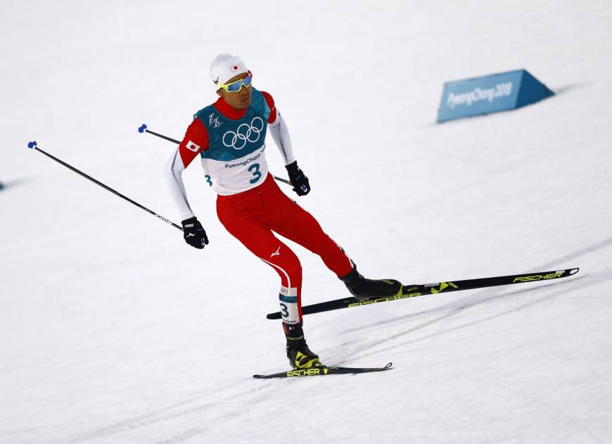 Akito Watabe competes in the Nordic combined men