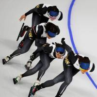 Members of Japan's speedskating squad train at Gangneung Oval in Gangneung, South Korea, on Wednesday. | REUTERS