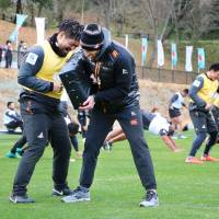 The Sunwolves take part in a training session in Beppu, Oita Prefecture, in late January. | KYODO