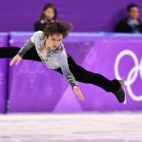 Shoma Uno performs his short-program routine at Gangneung Ice Arena on Friday. | AFP-JIJI