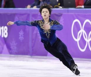 Shoma Uno performs en route to a silver medal at the Pyeongchang Games on Saturday.