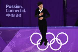 Nathan Chen of the United States executes a jump during his free skate at the Pyeongchang Games on Saturday.