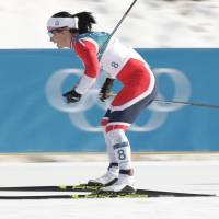 Norway's Marit Bjoergen competes during the women's 30-km cross-country race, the final event of the Pyeongchang Games, on Sunday. | AP