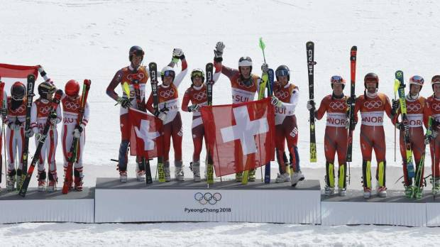 Swiss come out on top as Alpine team event makes low-key debut