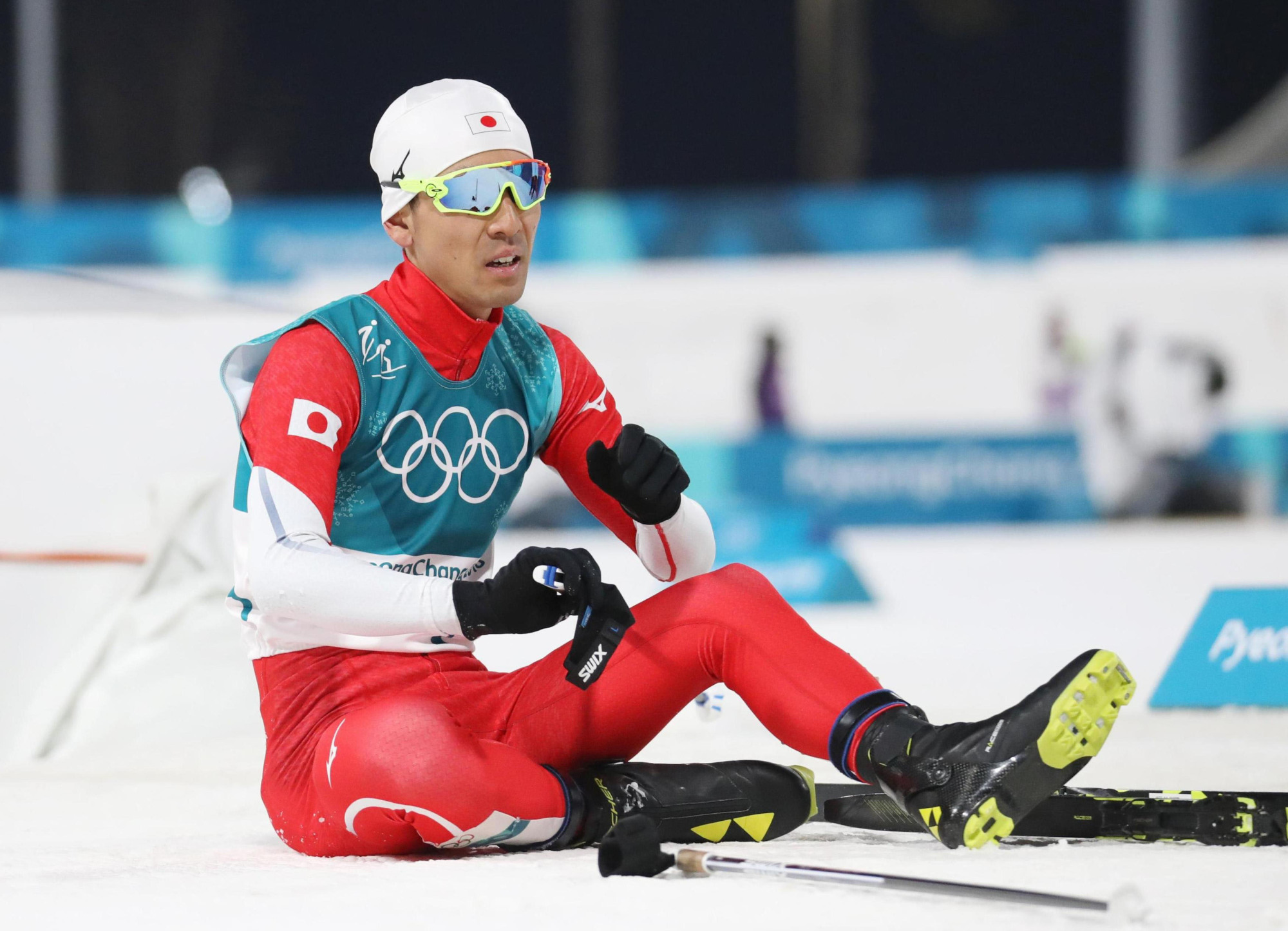 Akito Watabe reacts at the end of the Nordic combined competition at the Pyeongchang Olympics on Tuesday.