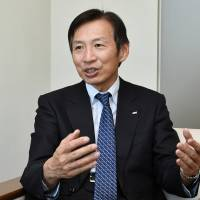 Rohto Pharmaceutical Co. Chairman and Chief Executive Officer Kunio Yamada speaks during an interview at the company's office in Tokyo on Feb. 8. | YOSHIAKI MIURA