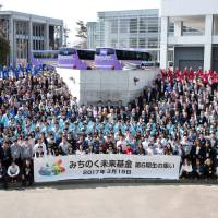 Students and others involved in the Michinoku Future Fund at the fund's gathering in Sendai on March 19, 2017. | MICHINOKU FUTURE FUND