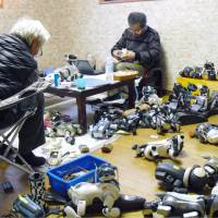 Old models of Sony's Aibo robot dog are repaired in Kasama, Ibaraki Prefecture, by a contractor for electronics repair shop A-Fun Co. | VIA KYODO