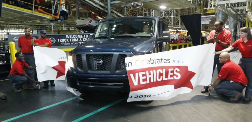 Nissan North America celebrates production of 4 million vehicles at its Canton, Mississippi, assembly plant Monday and announced the addition of a second shift that will create or retain 250 hourly jobs to support increasing demand for NV Commercial Vans. The van was donated to a local nonprofit organization. | AP