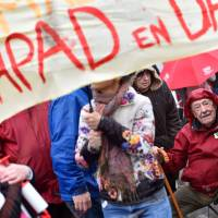 Retirees and pensioners and Ehpad employees protest on Thursday in Nantes as part of a national day of action and strike by EHPAD (Establishment for the Housing of Elderly Dependant People) workers and pensioners to demand more resources. | AFP-JIJI
