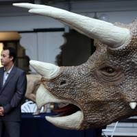 A visitor stands next to a 3-D printed sculpture of a Triceratops during the 3-D printing show in London in November 2013. | BLOOMBERG