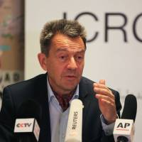 Peter Maurer, president of the International Committee of the Red Cross (ICRC), gives a press conference in Baghdad on the humanitarian situation in Iraq after three years of conflict against the Islamic State group on Wednesday. | AFP-JIJI