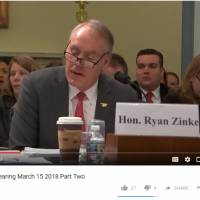 U.S. Interior Secretary Ryan Zinke answers a question from Rep. Colleen Hanabusa, of Hawaii, during a House of Representatives Natural Resources Committee hearing in Washington on Thursday in this screen shot taken from YouTube.