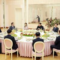 A dinner is prepared for members of a special delegation dispatched by South Korean President Moon Jae-in in this photo released Tuesday. | REUTERS