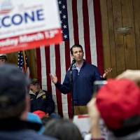 Donald Trump Jr., executive vice president of development and acquisitions with the Trump Organization Inc., speaks during a campaign event for Rick Saccone, Republican candidate for the U.S. House of Representatives, with volunteers and service members at the Blaine Hill Volunteer Fire Department in Elizabeth, Pennsylvania, Monday. | BLOOMBERG